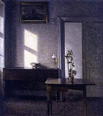 Interior with potted plant on card table - Vilhelm Hammershoi